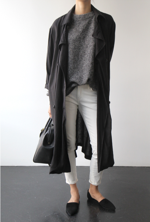 grey trench coat