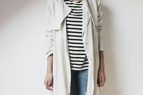 white trench coat and stripes
