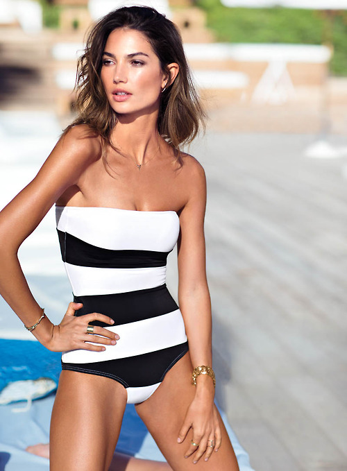 stripped swimsuit