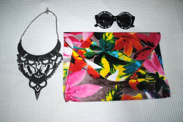 floral print colorful clutch