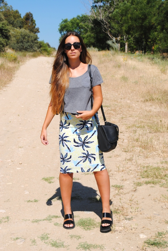 palm print pencil skirt