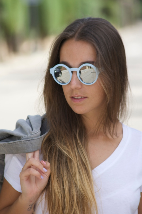 pastel blue sunglasses