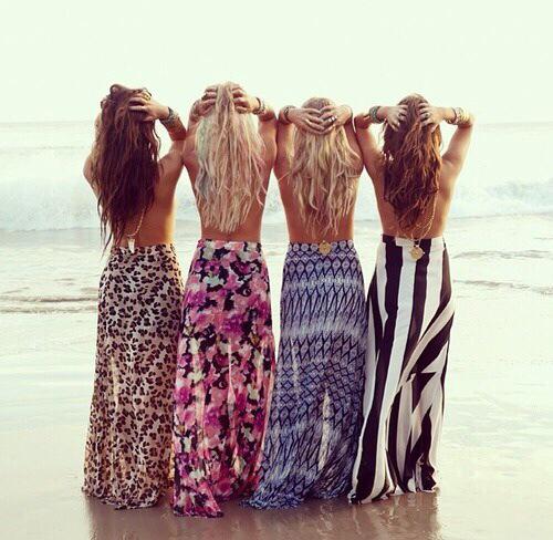 beach look maxi skirt