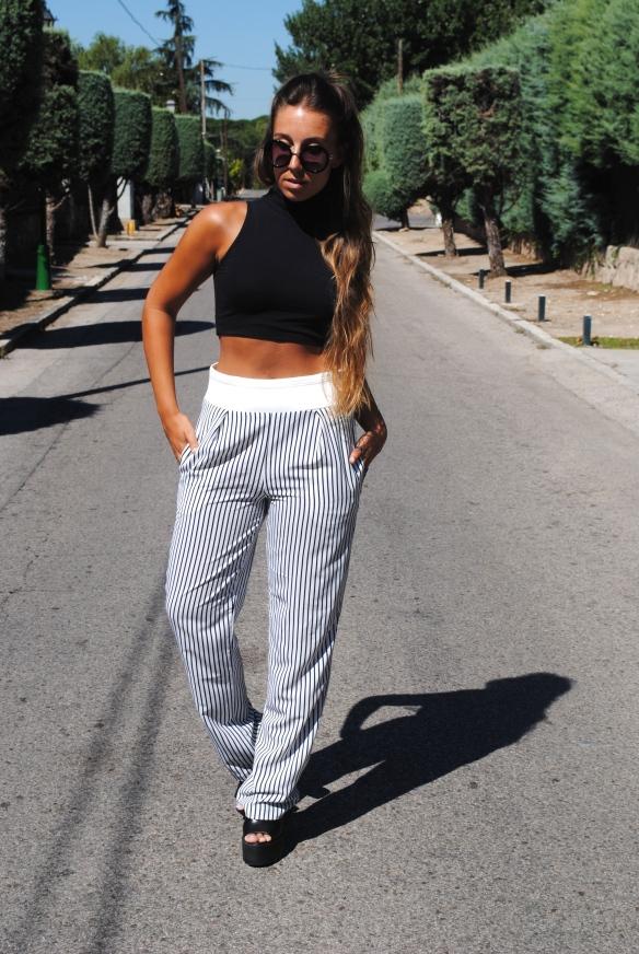 outfit pantalón rayas