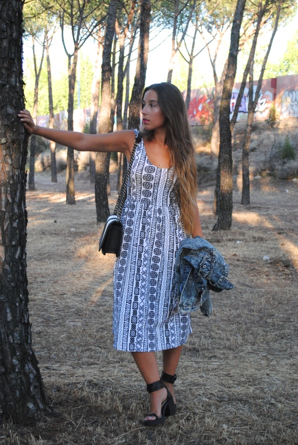 monochrome midi dress