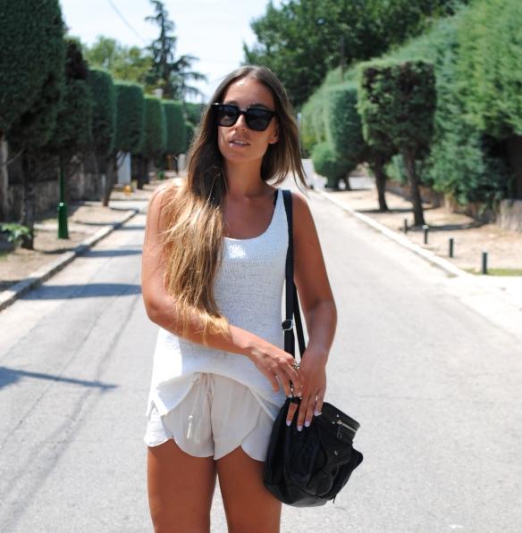 beige silky shorts