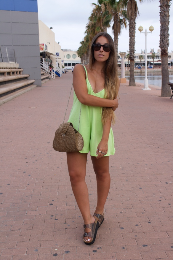 neon green playsuit