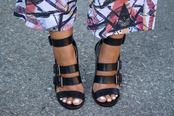 buckle heel sandals