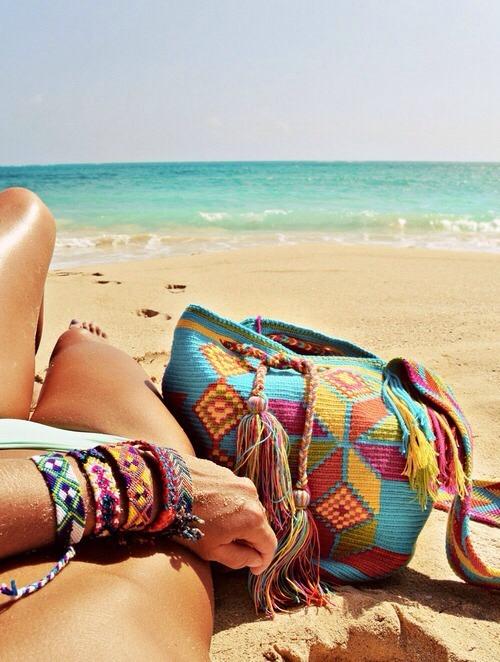 bolsa de playa colores
