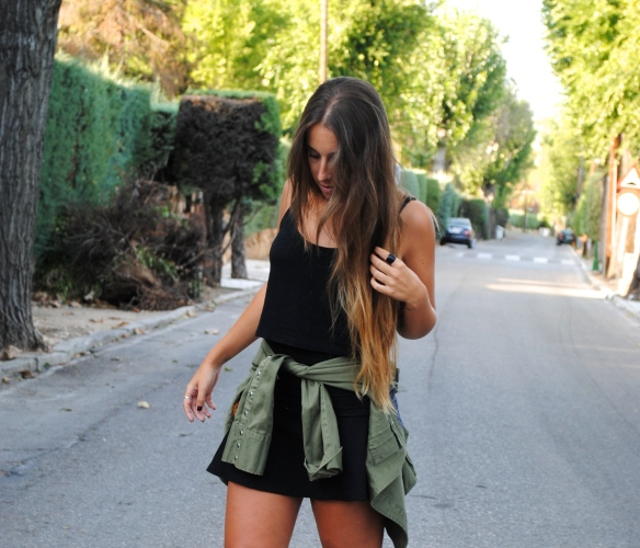 khaki green and black outfit