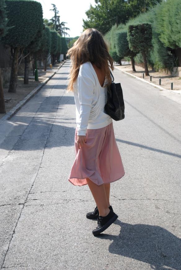 blush midi skirt