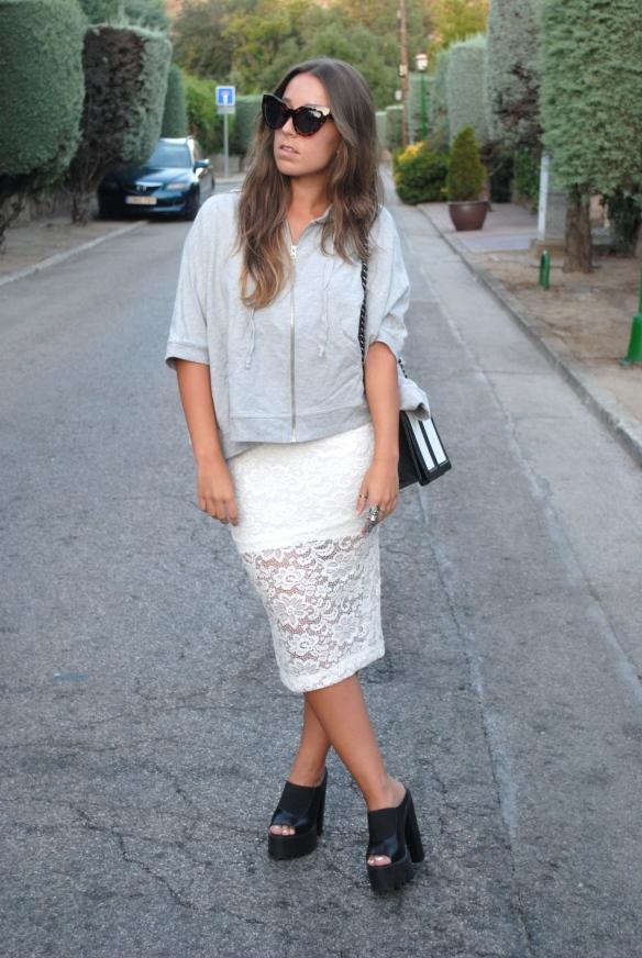 falda blanca midi encaje