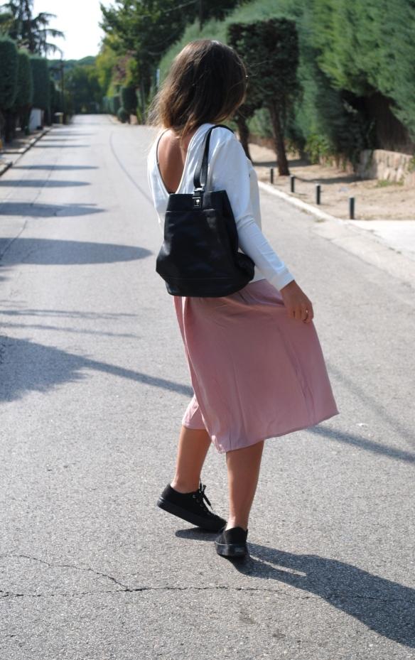 pink flawy midi skirt