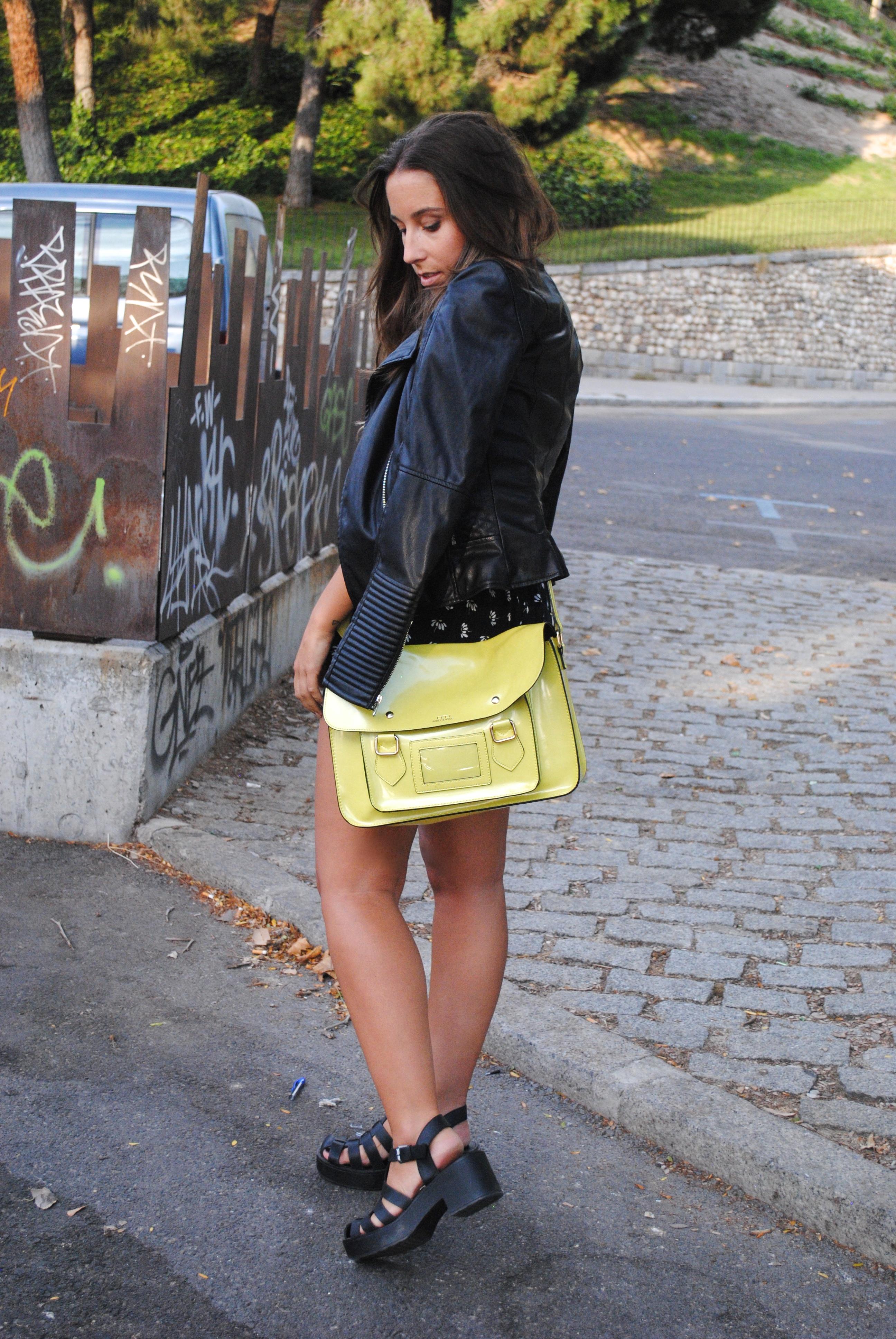 yellow satchel bag