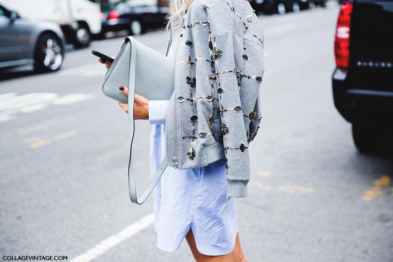 New_York_Fashion_Week_Spring_Summer_15-NYFW-Street_Style-Blue_Shirt-Beaded_Bomber-PAstel_Bag-