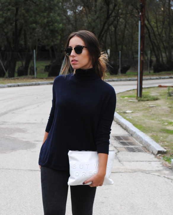 navy blue high neck sweater