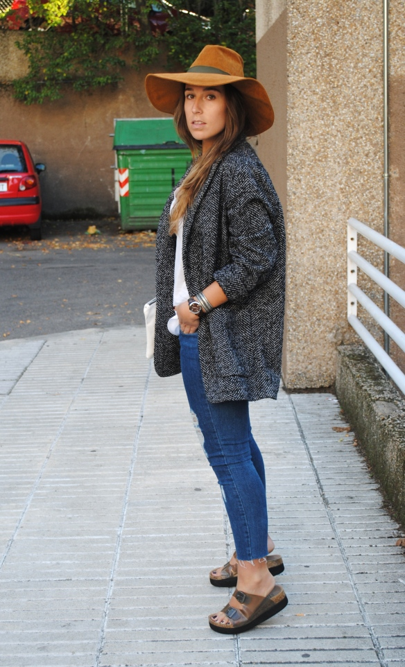 grey blazer coat