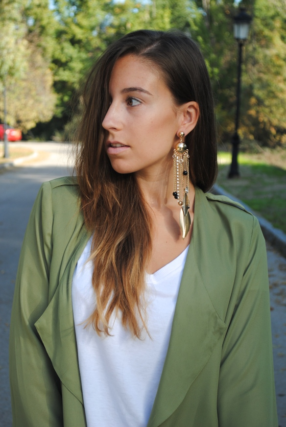 big gold and black earring
