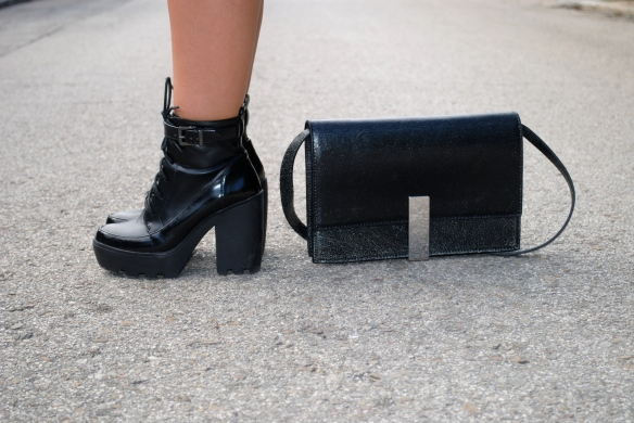 chunky heel lace boots