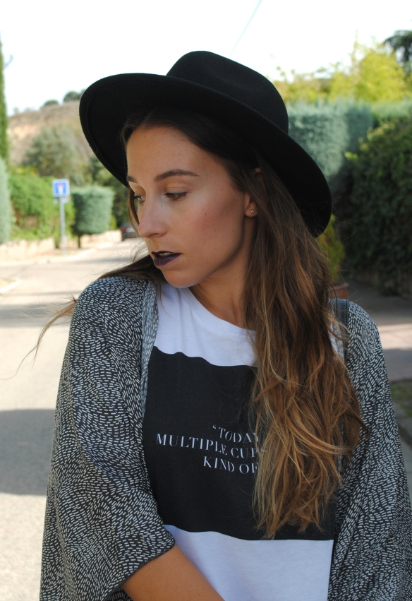fedora hat and dark lips