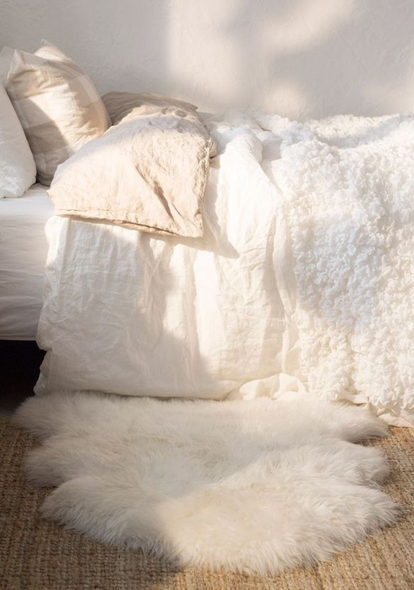 white and fur bedroom