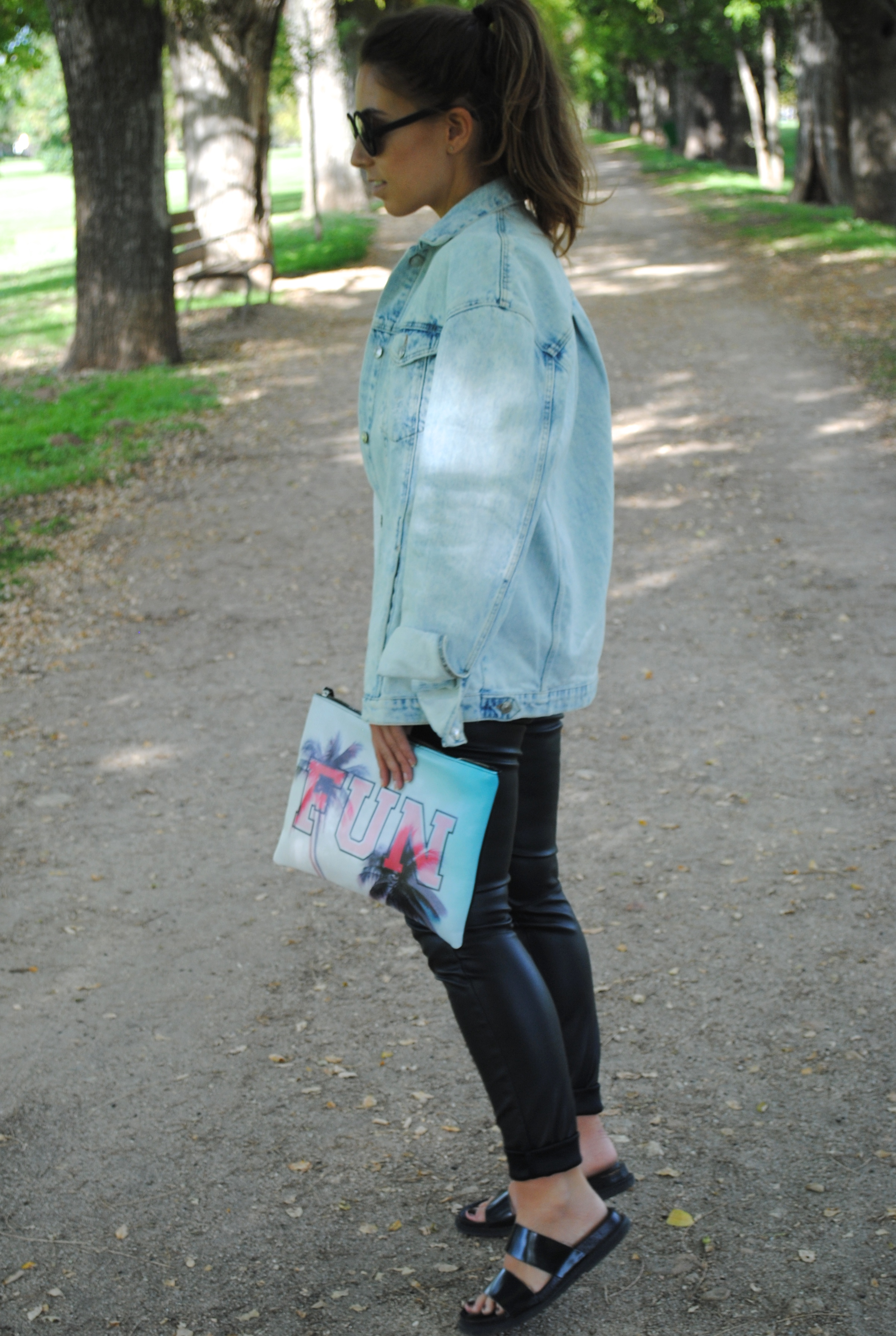 denim and leather combination