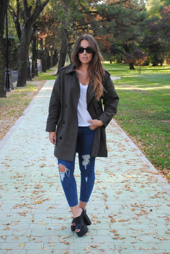 khaki green trench coat