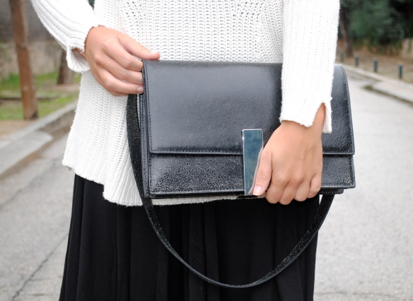 black silver buckle bag
