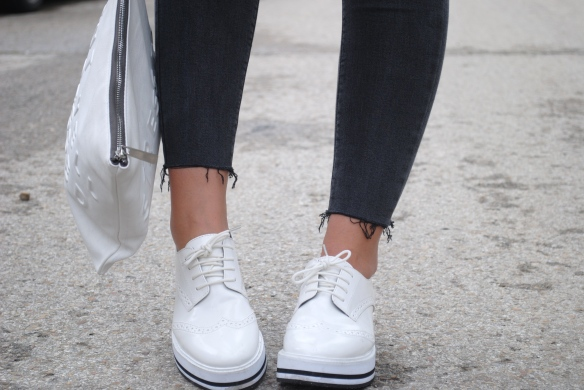 white platform brogues