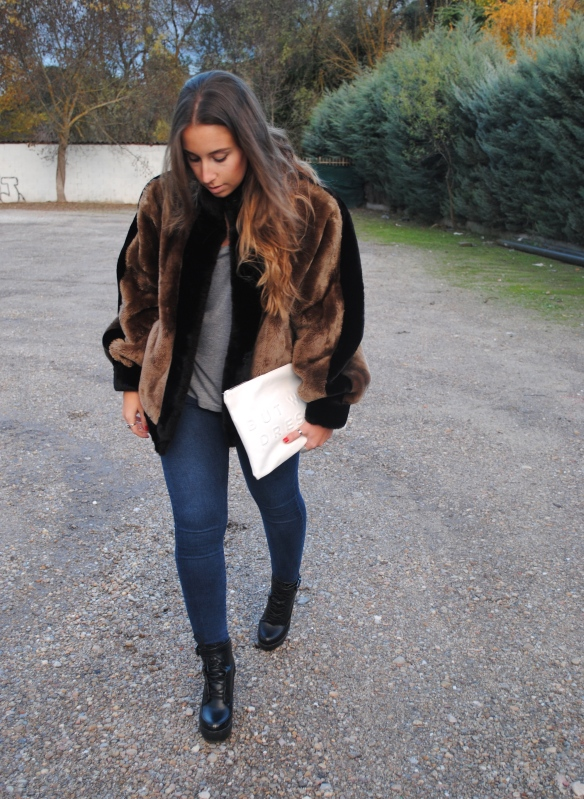 brown fur bomber jacket