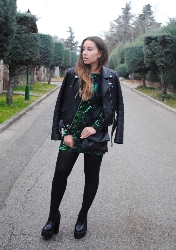 vestido lentejuelas verde