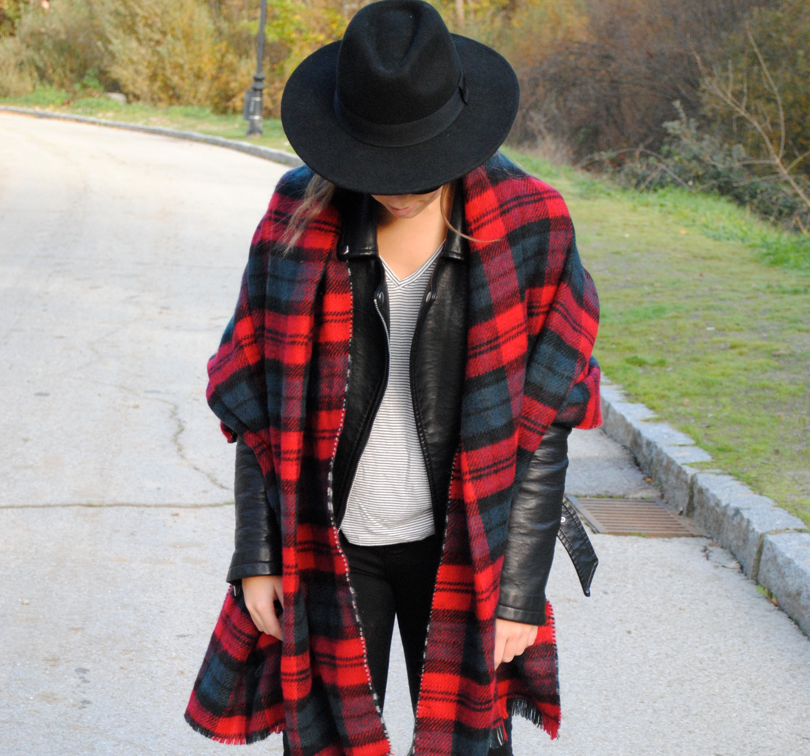 plaid maxi scarf