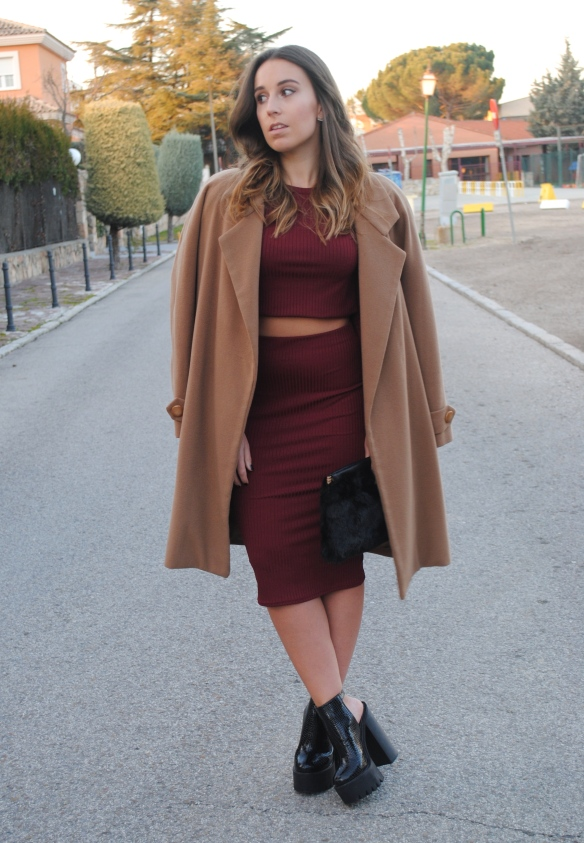 burgundy two piece