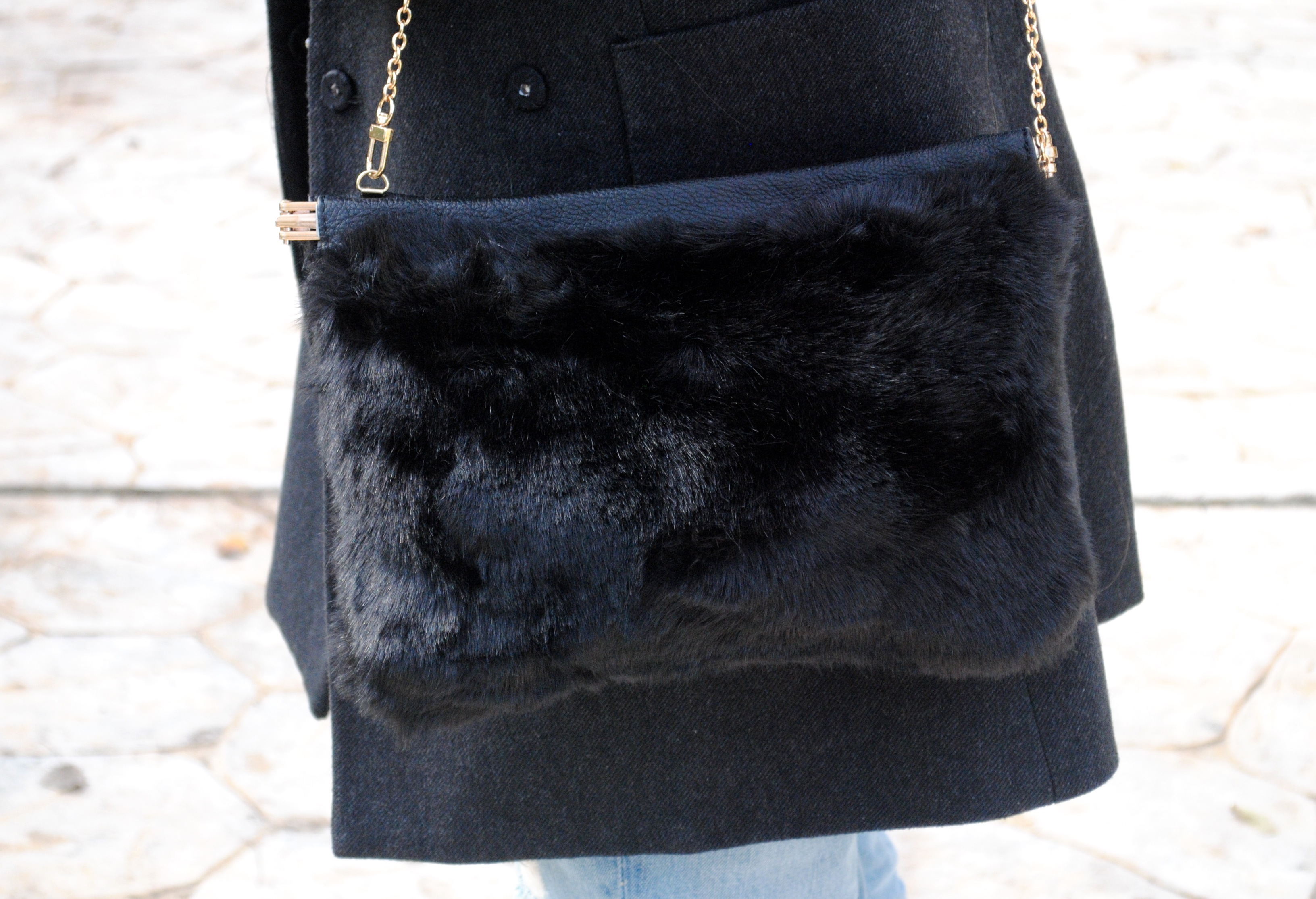 black fur bag
