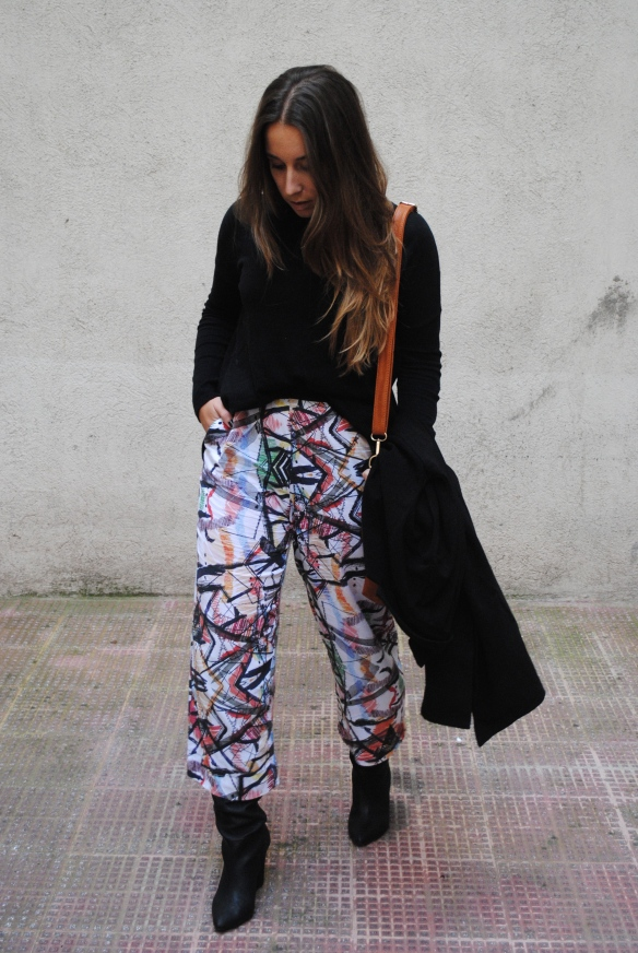 colorful print culottes