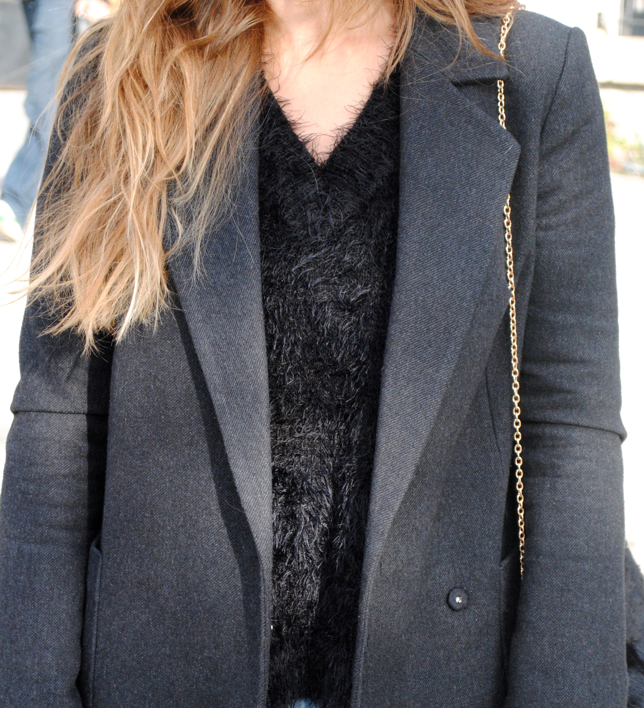 black fluffy sweater