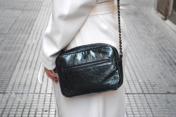 metallic green bag