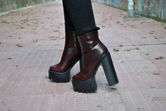 burgundy chunky heel boots