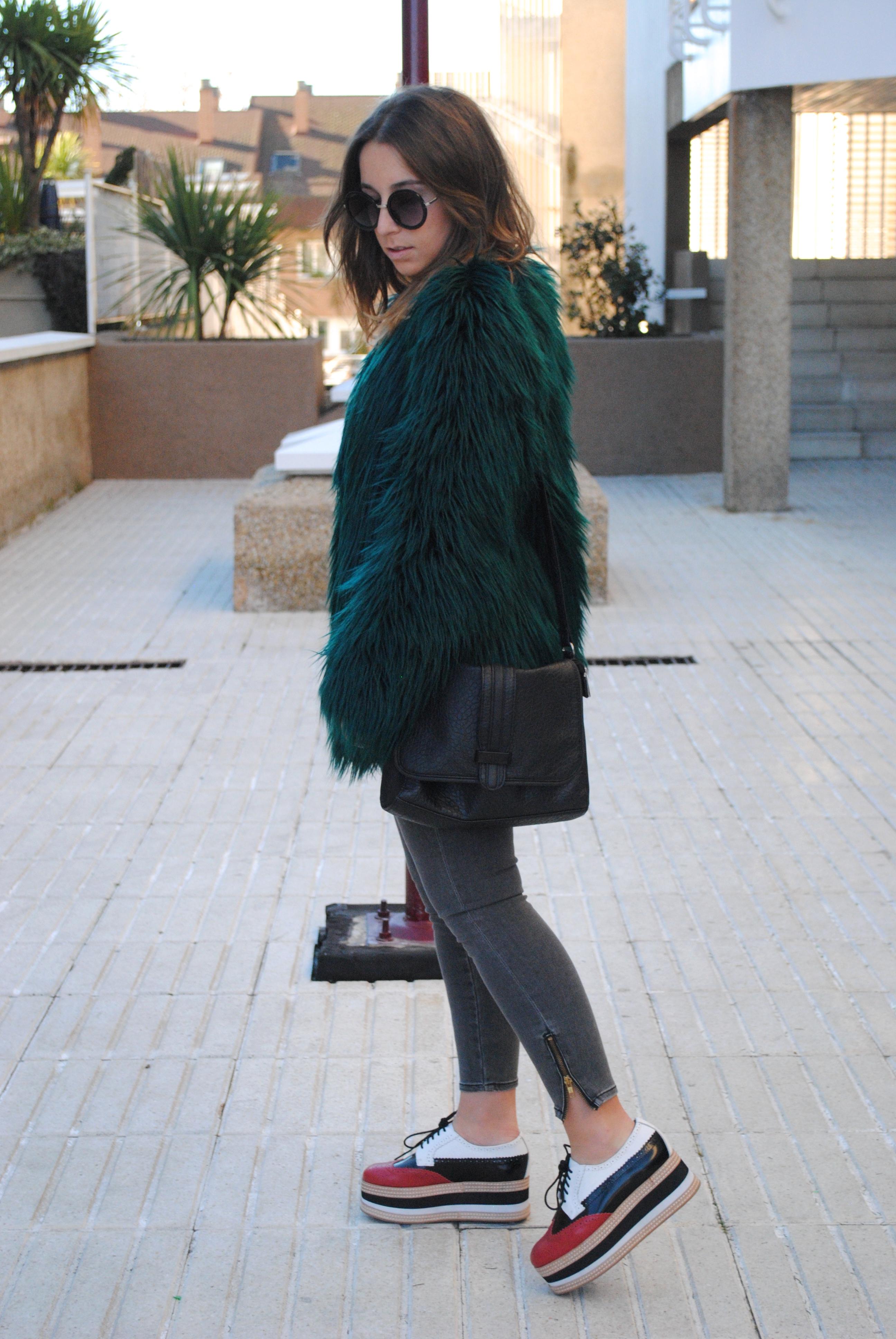 faux fur green coat