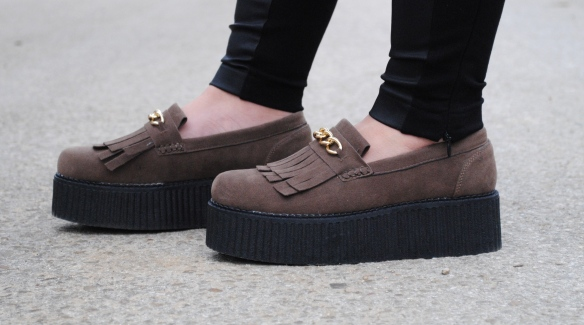 brown suede flatform loafers