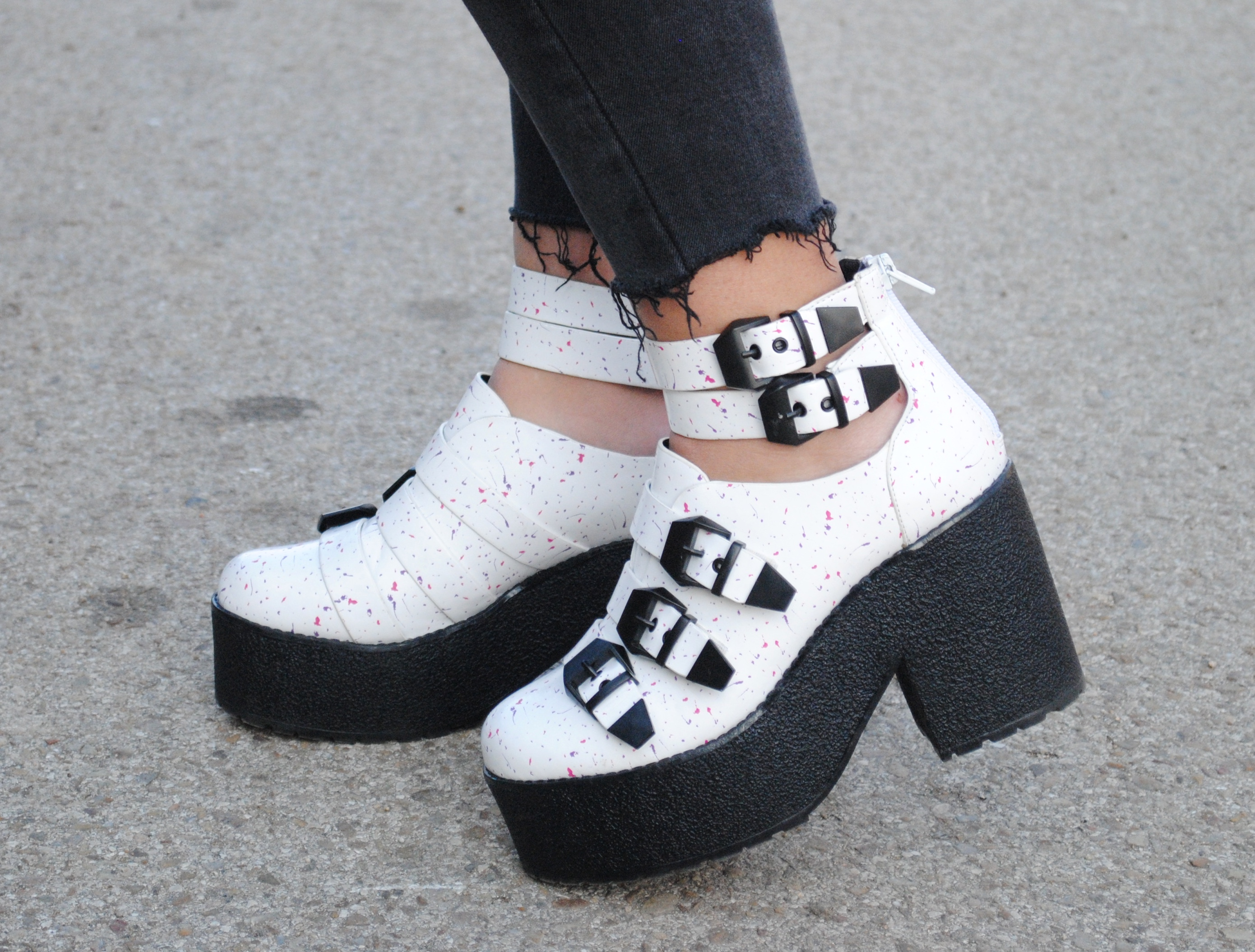 white chunky heel ankle boots