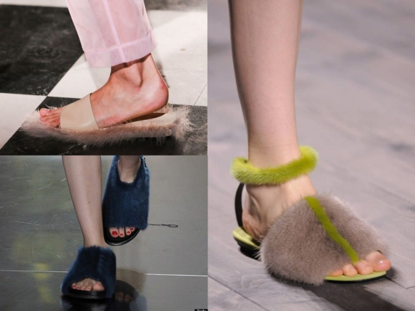 flat fluffy sandals