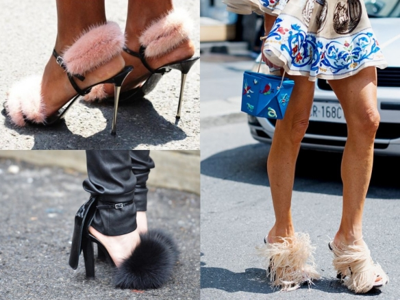 faux fur heel sandals