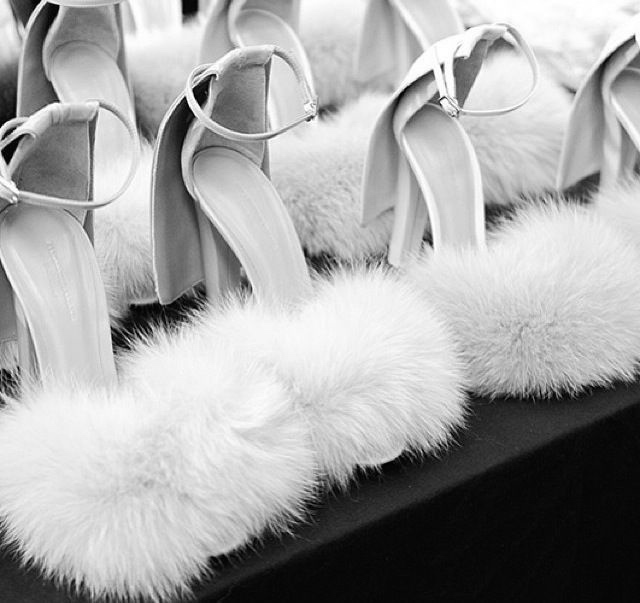 fluffy heel sandals