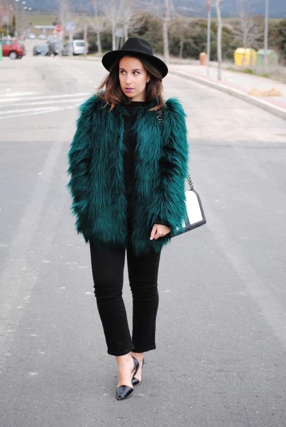 abrigo de pelo verde