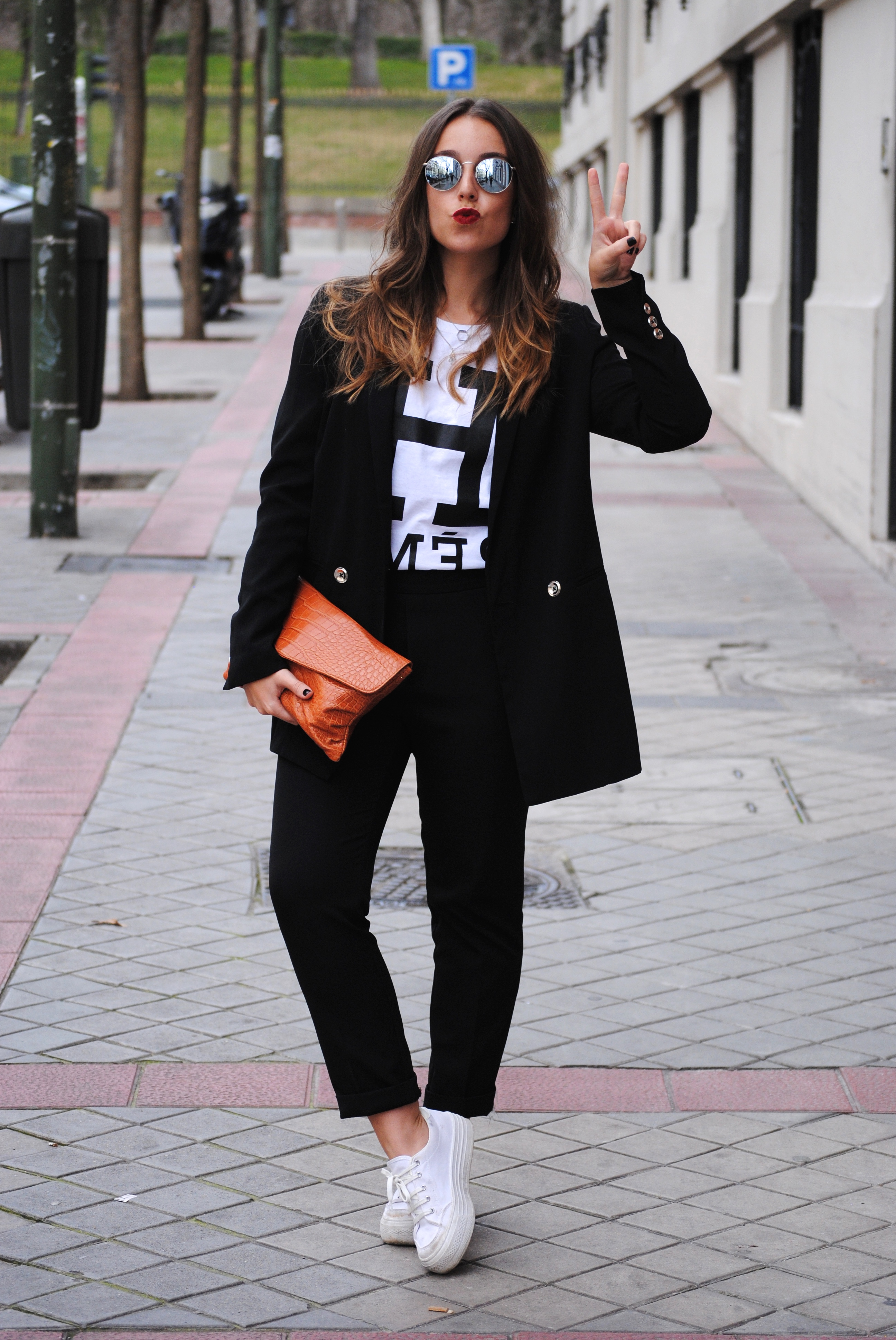 suit and sneakers outfit