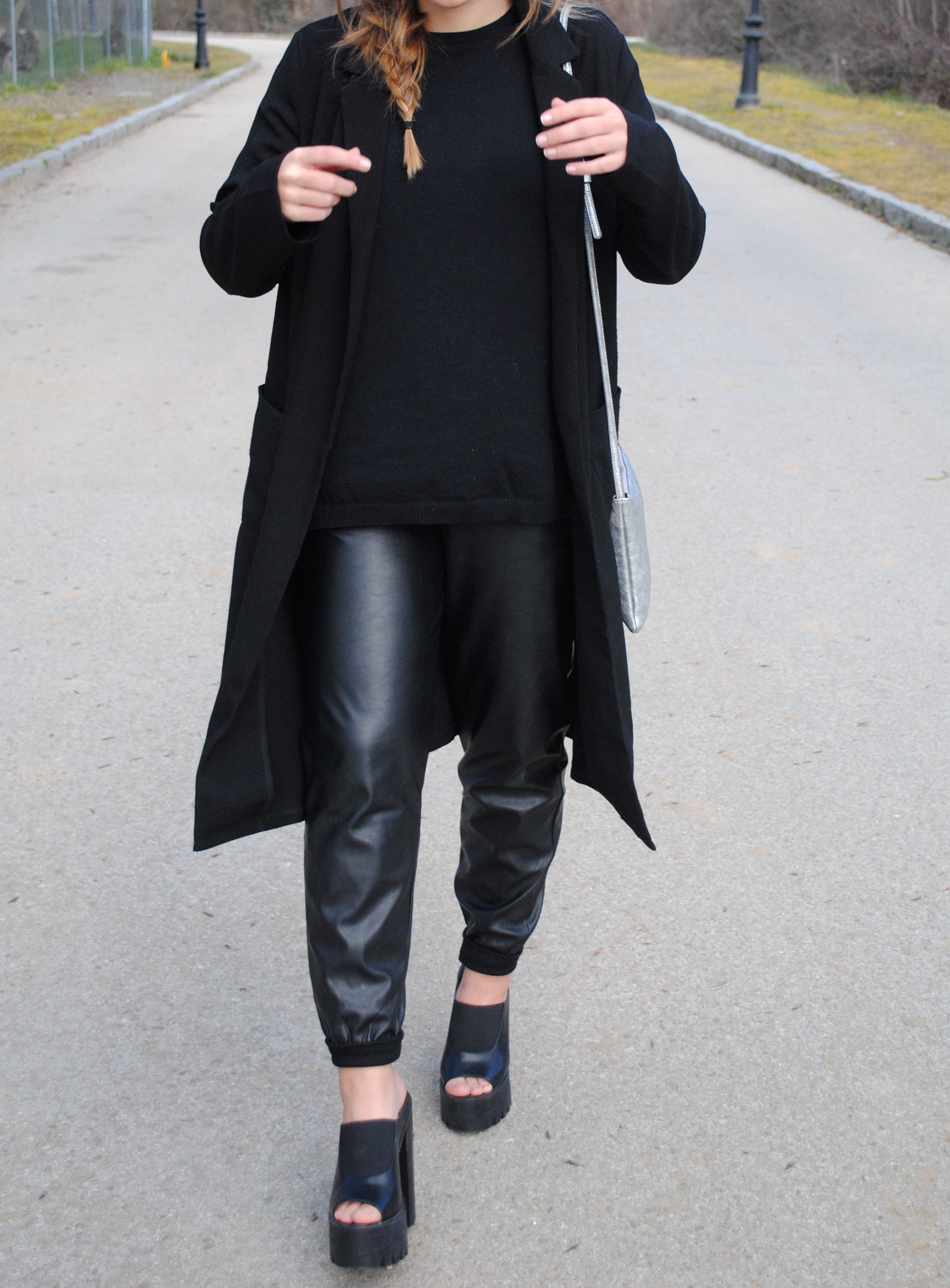 black leather joggers