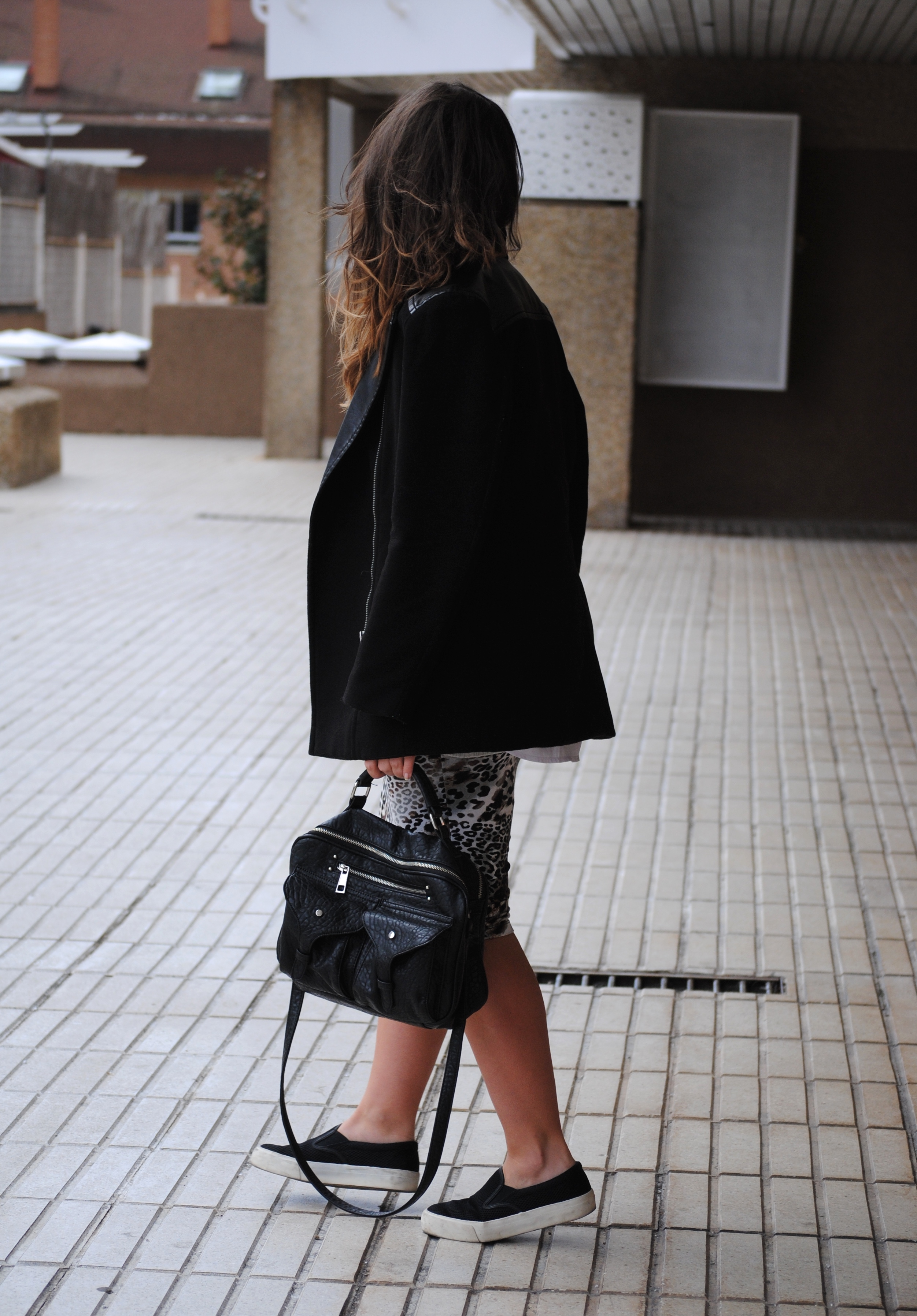 pencil skirt and slip ons
