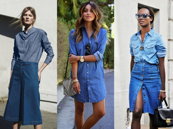 denim midi skirts