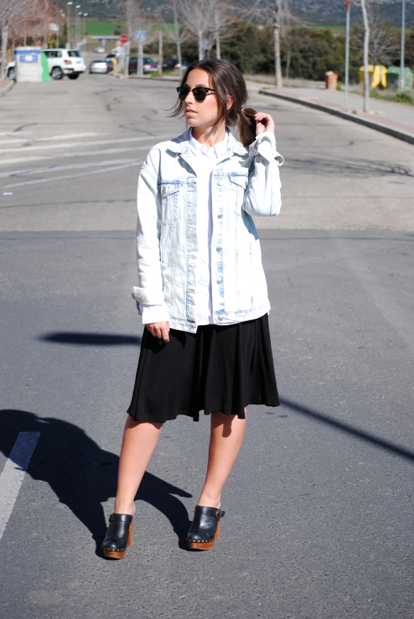 midi skirt and shirt